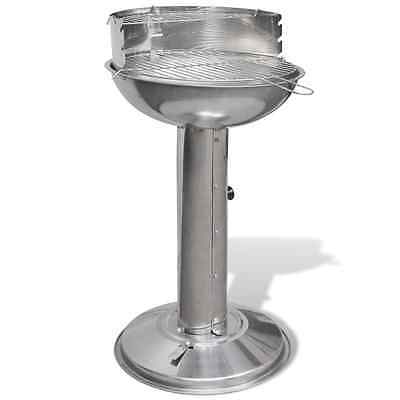 Stainless Steel Pedestal Round Charcoal BBQ Grill Cooking Garden Barbecue