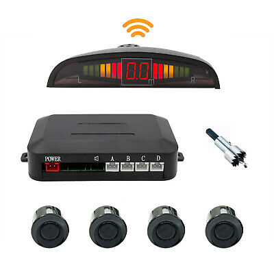 Kit 4 Sensori Di Parcheggio Con Mini Display Led Wireless Suono Fresa Ner