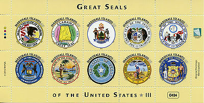 Marshall Islands 2016 MNH Great Seals of United States US USA 10v M/S III Stamps