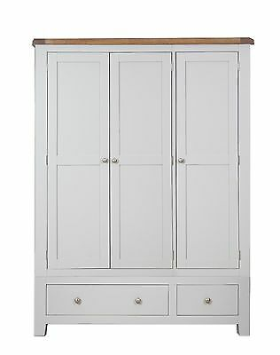 Dorset Oak Wardrobe 3 Door 2 Drawer Pine in Painted French Grey FREE DELIVERY!!