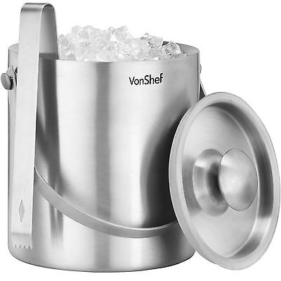 VonShef Ice Bucket Silver 2L Stainless Steel Insulated Lid Tongs Wine Cooler