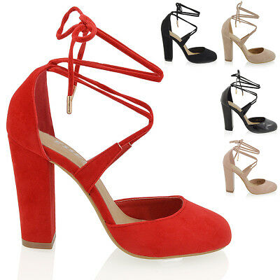 Womens Lace Up Shoes Block Heel Ankle Ladies Tie Wrpa Strappy Courts Sandals
