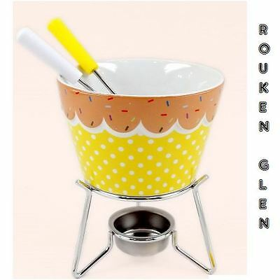 Ceramic Chocolate Cheese Yellow Fondue Set with Stand & 4 Pick Forks Kitchen