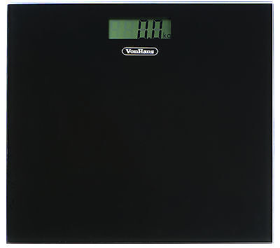 VonHaus Glass Digital LCD Bathroom Scale Electronic Weighing Scales - Black