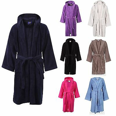 Unisex 100% Egyptian Cotton Hooded Bathrobe Terry Towelling Dressing Gown