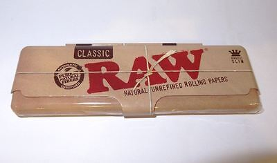 Raw Classic Rolling Papers King Size Slim Metal Tin Storage Case