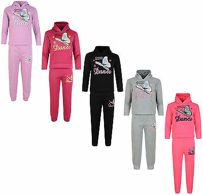 Kids Tracksuit Girls Jog Set Dance Hooded Top & Joggers Bnwt