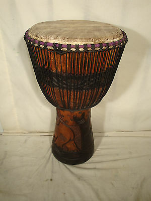 Hand Carved 24x13 Elephant Design Djembe