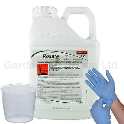 1 X 5L Rosate Green New Very Strong Glyphosate Weedkiller + Free Cup & Gloves