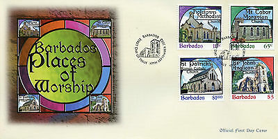 Barbados 2013 FDC Churches Places Worship 4v Set Cover Moravian Church Stamps