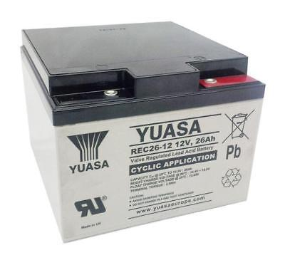 Yuasa REC26-12 26Ah Golf Trolley / Mobility Scooter Battery - 1 Yr Warranty