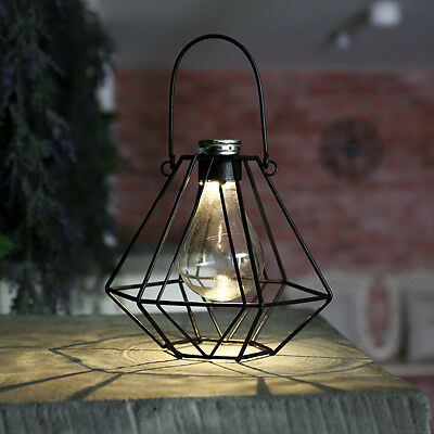 16Cm Solar Powered Outdoor Garden Deck Hanging Terrarium Led Lantern Lamp Light