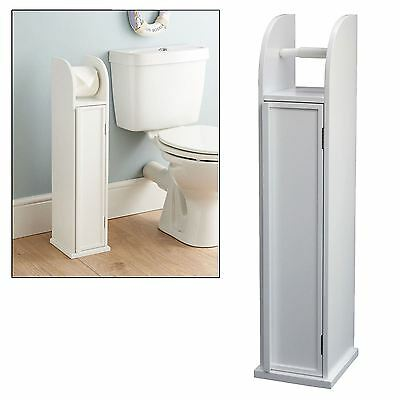 Wooden Free Standing Bathroom Toilet Roll Holder Cabinet Stand New Boxed