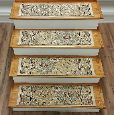 """Rug Depot 13 Traditional Carpet Stair Treads 31"""" x 9"""" Staircase Rugs Ivory Poly"""