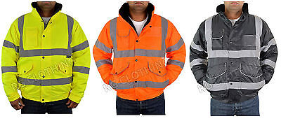 Hi-Vis Viz Work  Bomber Jacket High Visibility Waterproof Coat Jacket S-5Xl
