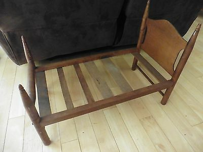 "Vintage wooden bed Baby Doll Antique wood furniture 30"" long x 16"" wide"