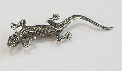 Vintage Sterling Silver Brooch Pin Marqusite Citrine  Lizard Unique - 2916