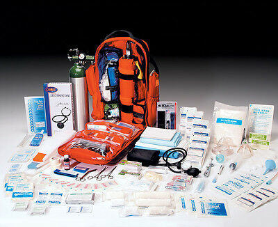 Ultimate Pro O2 Oxygen Backpack Trauma Kit, D Cylinder - Fully Stocked - Orange