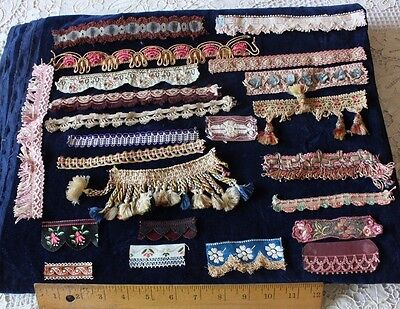 Rare Collection of 22 French Antique 19thC Braids & Trims~Dolls,Design