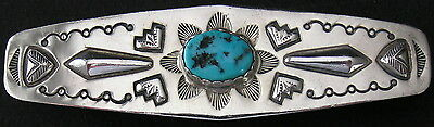 "Vintage Navajo Sterling Silver Turquoise Barrette Hair Clip, 3 5/8"" Long"