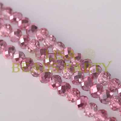 Hot! 50pcs 8X6mm Faceted Rondelle Charms Loose Glass Spacer Beads Aqua Pink