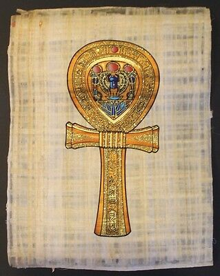 Egyptian Hand-Painted Papyrus Artwork: The Key of Life ( Ank)