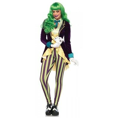 Female Joker Costume Adult Super Villain Girl Halloween Fancy Dress