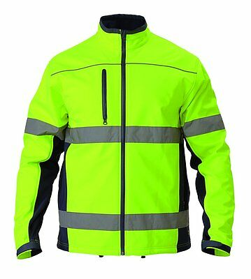 Extra Large Bisley Soft Shell Jacket Yellow/navy With Reflective Tape Bj6059T