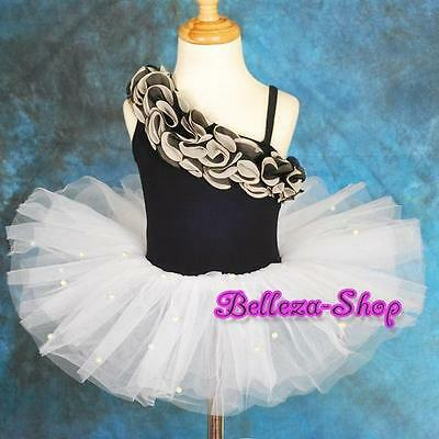 Chiffon Ruffle Pearls Girls Ballet Tutu Dancewear Fancy Party Dress 2T-7 BA022