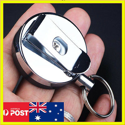 Pull Chain Metal Steel Retractable Holder Reel Recoil Key Ring Belt Clip Snap