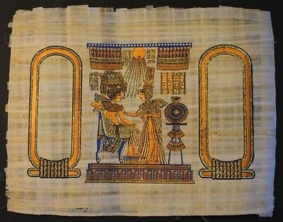Egyptian Hand-Painted Papyrus Artwork: The Throne Chair of King Tut Ank Amon