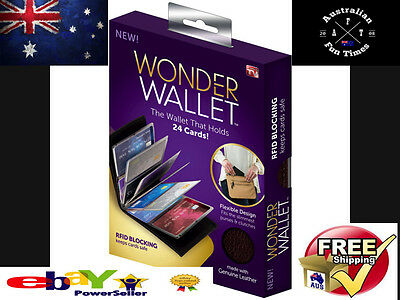 HOT New Wonder Wallet - Amazing Slim RFID Wallets As Seen on TV, Black Leather