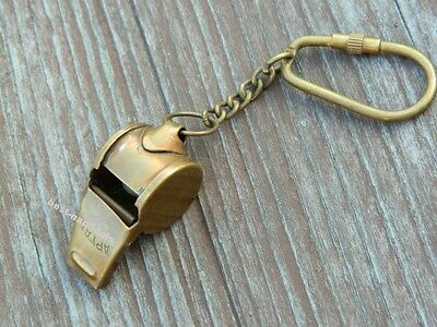 Brass Conductor Whistle Key Chain & Antique Finish