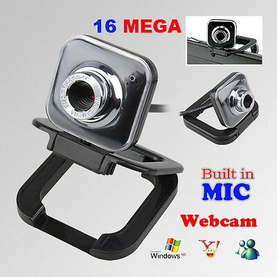 USB 2.0 16.0 Mega Pixel HD Webcam Video Camera With Microphone Mic for PC Laptop