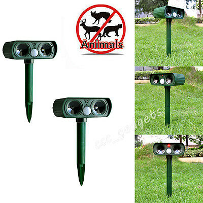 2x PIR Motion Sensor Ultrasonic Solar Pest Animal Cat Dog Rat Repeller Deterrent