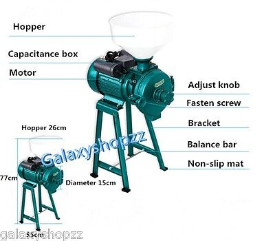 Electric Animal Poultry Feed Mill Wet Dry Grinder Corn Grain Rice Wheat 220V