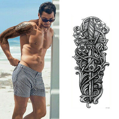 Full Arm Tattoo XXL Einmal Tattoo Black Sword Fake Tattoo 44,5x16cm QB-3038