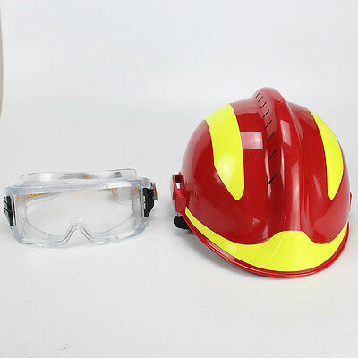 China CAPF New Red Firefighter Rescue Helmet  Set F2 Type & Protective Glasses