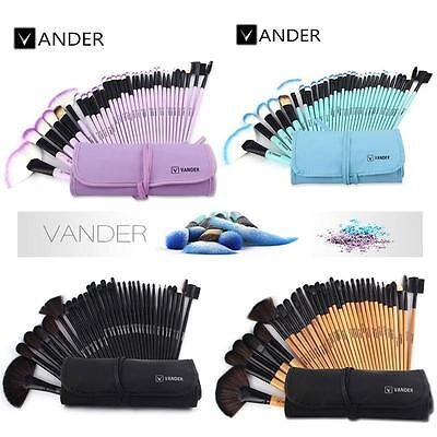 32pcs Muticolor Vander New Eyebrow Shadow Soft Makeup Brush Set Kit + Pouch Bag