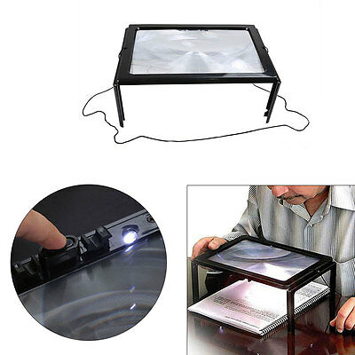 LED Light Magnifying Glasses Hands Free Magnifier Sheet Lens Precision Reading