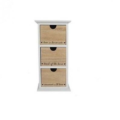 New Chest of 3 Drawers Desktop Wall Wooden Storage Unit Home Cabinet Organizer