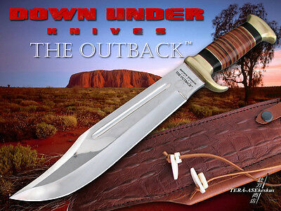 Down Under Knives The Outback Bowie 70% Handcrafted By Pros.with Leather Sheath.
