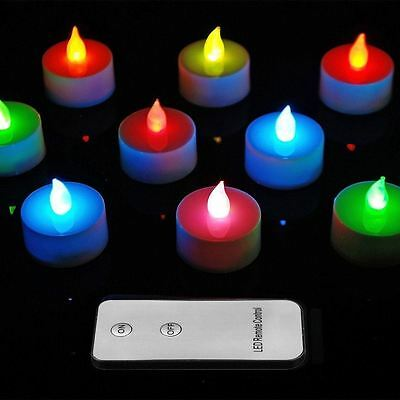10 Remote Control Colour Changing Flameless LED Tea Lights Candles