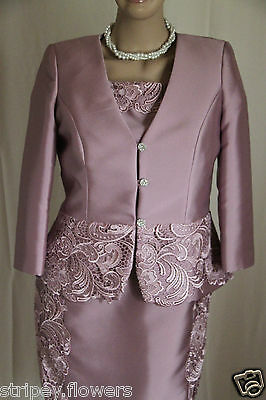 CARLA RUIZ Dusky Pink Lace Dress Outfit Size UK14 (44) £364 Mother of the Bride