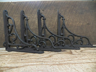Lot 4 Antique-Style  Rustic Brown Cast Iron 7 x 7 SHELVING Shelf BRACKETS Braces