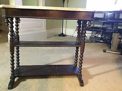 SOLID CARVED WALNUT MARBLE-TOP TABLE w/ 2 Shelves ANTIQUE 19th CENTURY