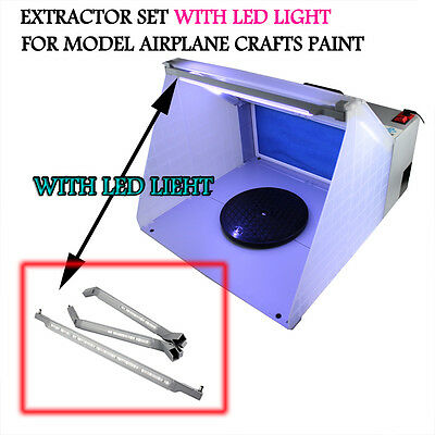 LED Light Hobby Airbrush Spray Booth Kit Exhaust Filter Extractor Set for Craft