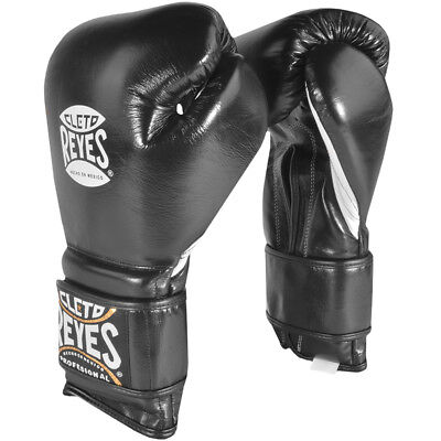 Cleto Reyes Hook and Loop Closure Leather Training Boxing Gloves - Black