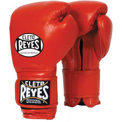 Cleto Reyes Hook and Loop Closure Leather Training Boxing Gloves - Red