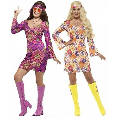 Hippie Costume Adult 60s 70s Girl Halloween Fancy Dress